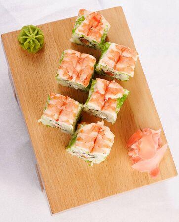 Sushi futomaki with shrimp top view Stock Photo
