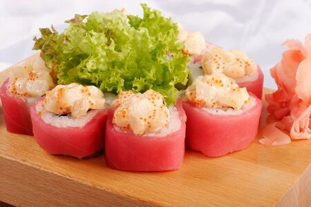 hotate: Sushi maguro hotate mayonnaise closeup