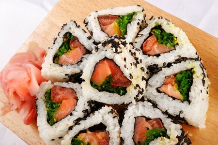 Sushi rolls with tuna and green onion top view Stock Photo