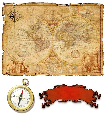 An ancient map with compass. Stock Photo