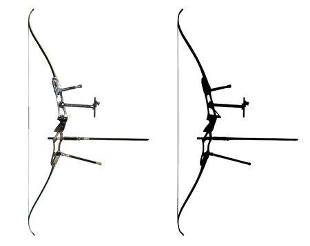 arco y flecha: Deporte de proa aislado en blanco con contorno