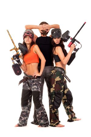 Image of paintball team posing for a camera