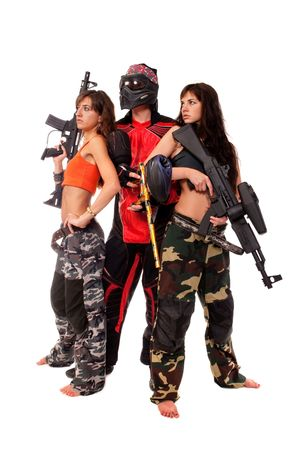 Image of paintball team posing for a camera photo