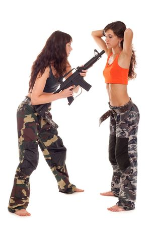 image of two models playing roles of a soldier and captive Stock Photo - 7704334