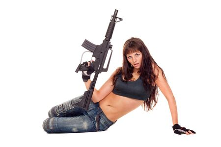 Image of a posing girl with a rifle