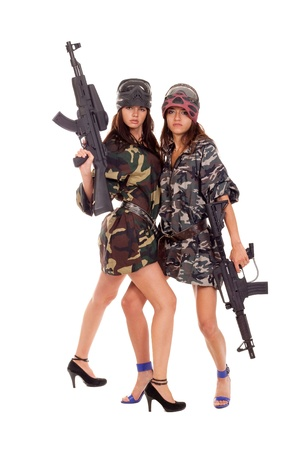 mercenary: Image of a two armed paintball players posing to the camera Stock Photo
