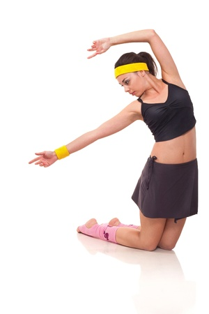 Photo of a young girl doing a fitness exercises Stock fotó