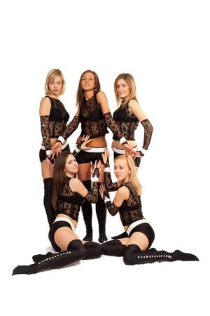 women posing: Image of a dance group consisting of four girls