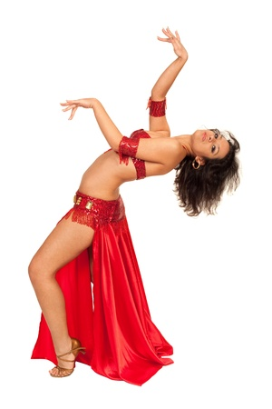 Image of east dancer in red dress posing to the camera