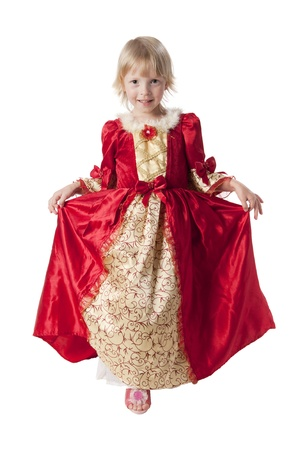 cinderella dress: Little girl dressed like a pretty princess Stock Photo