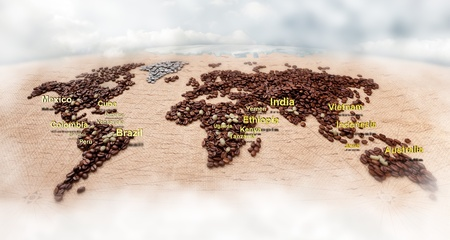 Image of map made of coffee. Closeup photo