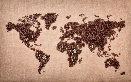 black seeds: Image of map made of coffee. Closeup
