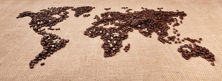 exporter: Image of map made of coffee. Closeup
