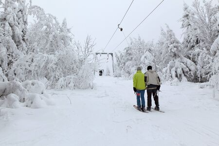 Rope tow in frozen forest