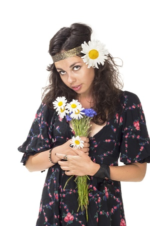 hippies: Image of a young hippie girl