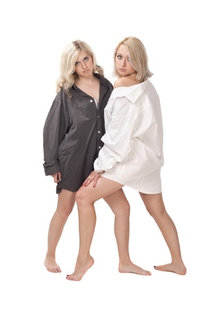 young girl barefoot: Two blond girls Stock Photo