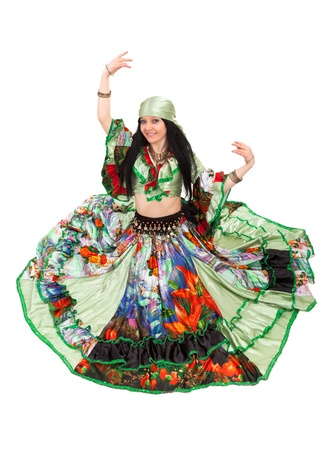 gypsy woman: Image of gipsy dancer in traditional dress in motion