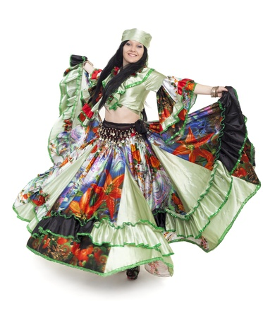 gipsy: Image of gipsy dancer in traditional dress in motion