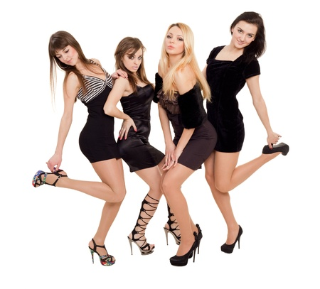 Image of three beauties in black dresses posing for photo photo