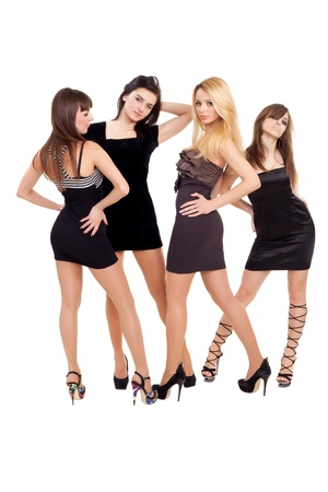 Image of three beauties in black dresses posing for photo