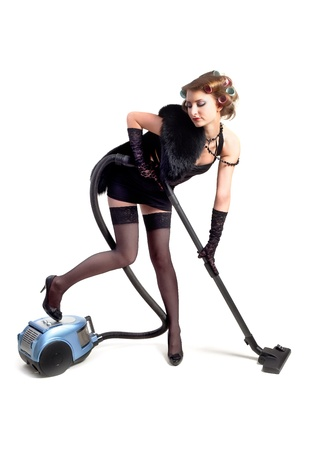 Girl with vacuum cleaner Stock Photo - 16989031