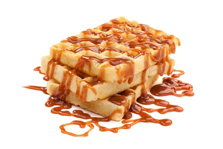 Belgian waffels under the caramel topping Stock Photo
