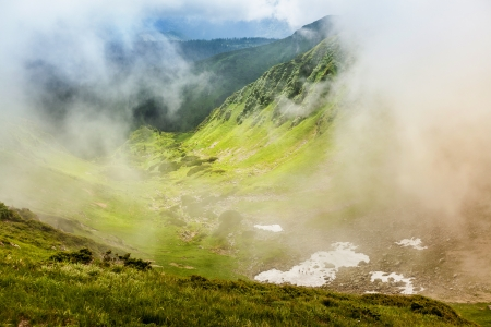 myst: Image of a beautiful carpathian mountains. Marmaros massif in eastern Carpathians. Stock Photo