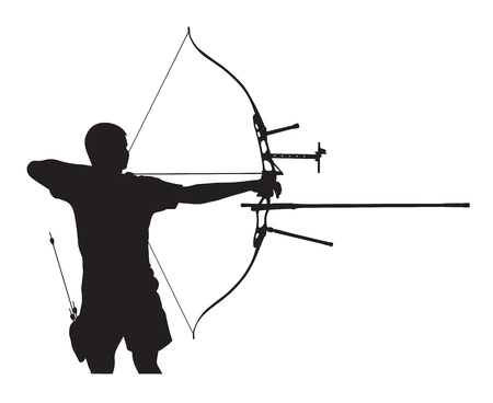 Silhouette of archer stretching the bow and aiming Illustration