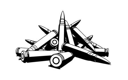 оружие: Винтовка пули на белом фоне