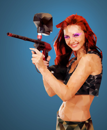 sexy army: Low Poly Portrait of a Paintball girl