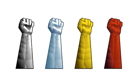 clenched fist: Hand with clenched fist. Illustration