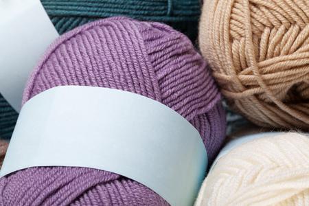 balls of yarn: Set of colorful wool yarn balls. Closeup photo.