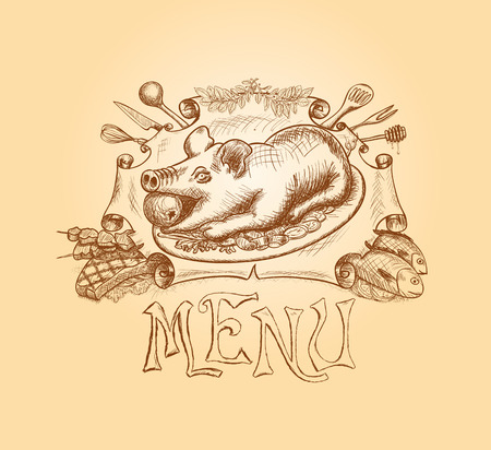 pig roast: Vector hand drawn menu title design in a simple sketch drawing manner.