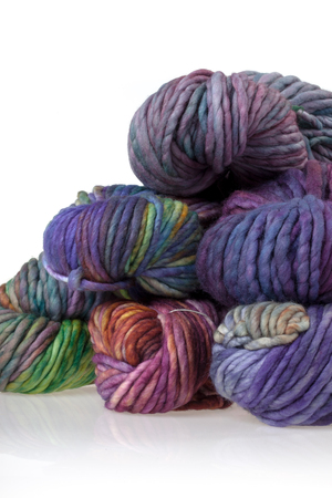 gomitoli di lana: Set of colorful wool yarn balls. Hanks are set out in a pile. Archivio Fotografico