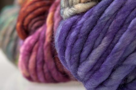 skein: Set of colorful wool yarn balls. Closeup photo.