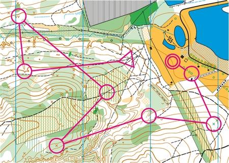 Topografische kaart voor oriëntatielopen sport met de afstand aangegeven op het.