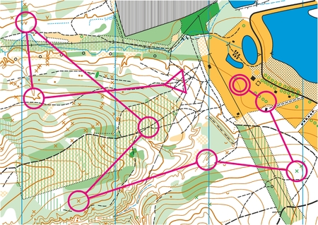orienteering: Topographic map for orienteering sport with distance marked on it. Illustration