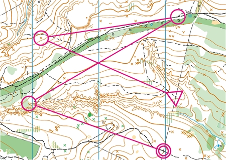 Topographic map for orienteering sport with distance marked on it. Illustration