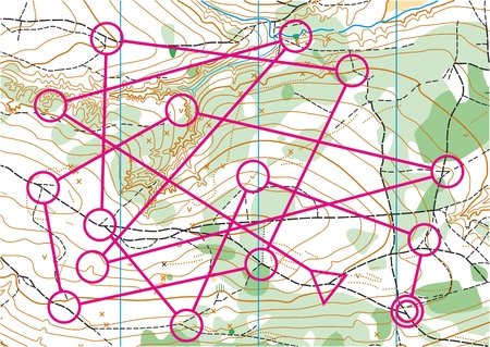 topographic: Topographic map for orienteering sport with distance marked on it. Illustration
