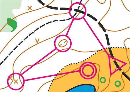 orienteering: Simple topographic map for orienteering sport with distance marked on it. Illustration