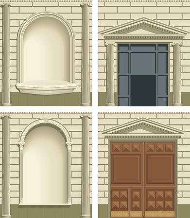 doorstep: Classic exterior facade constructor. Color vector illustration.