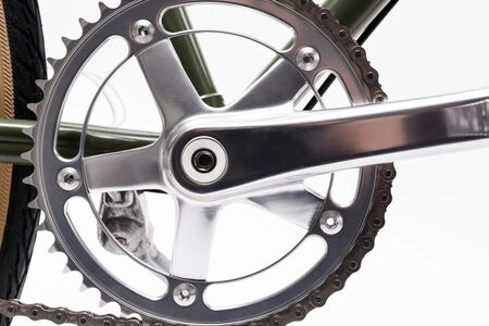 Composition with one speed Vintage bicycle crank isolated on white. Stock Photo