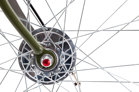 Vintage road bicycle wheel front hub with spokes composition, isolated on white. Stock Photo