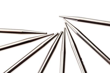 shiny: Set of shiny metal knitting needles. Close up