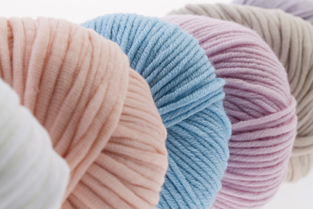 wool: Set of colorful wool yarn wrapped in balls.