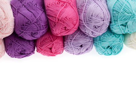 wools: Set of colorful wool yarn wrapped in hanks. Close-up Stock Photo