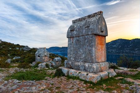 Lycian tombs in Kalekoy. Simena. Stock Photo