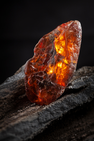 Natural amber. A piece of yellow and red semi transparent natural amber on piece of stoned wood.
