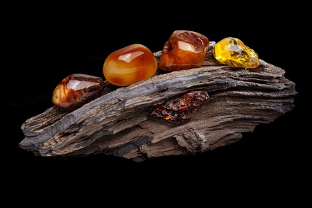 Natural amber. Several pieces of different colors of natural amber on large piece of stoned wood. Stock Photo