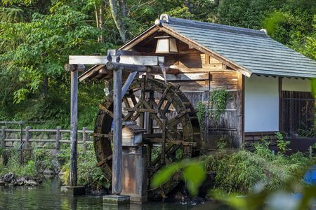 Old wooden mill in japanese style in Tokyo. Stock Photo